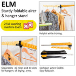 Artmoon Elm Collapsible Clothes Drying Rack Foldable Tripod Hanger Stand Portable Indoor/Outdoor Durable Constuction Up to 63 hangers