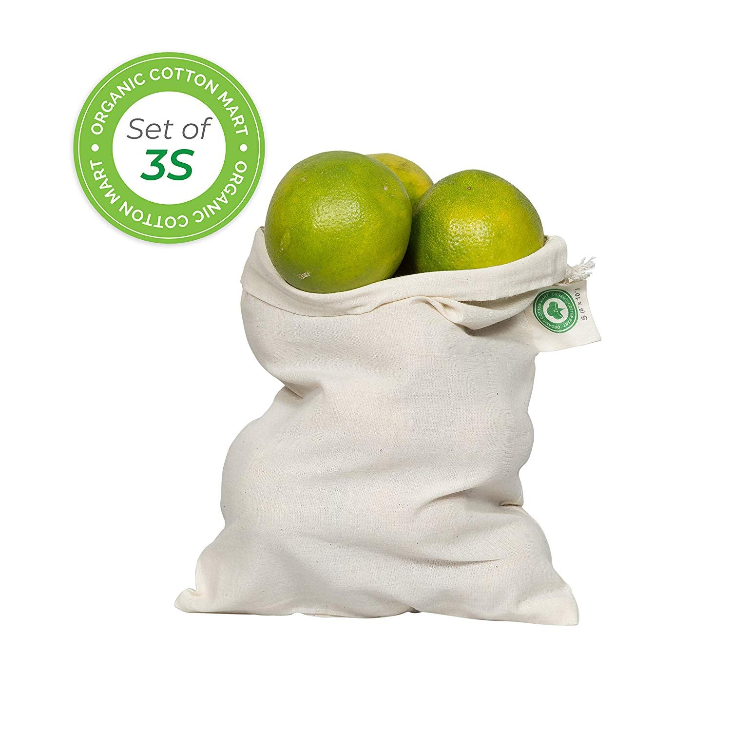 "Reusable grocery bags for produce - Reusable Produce Bags Small - Small muslin bags for Brewing - Organic Cotton with Drawstring - Small Organic Tea Bag - Set of 3 (3, Small - 8""x10"")"
