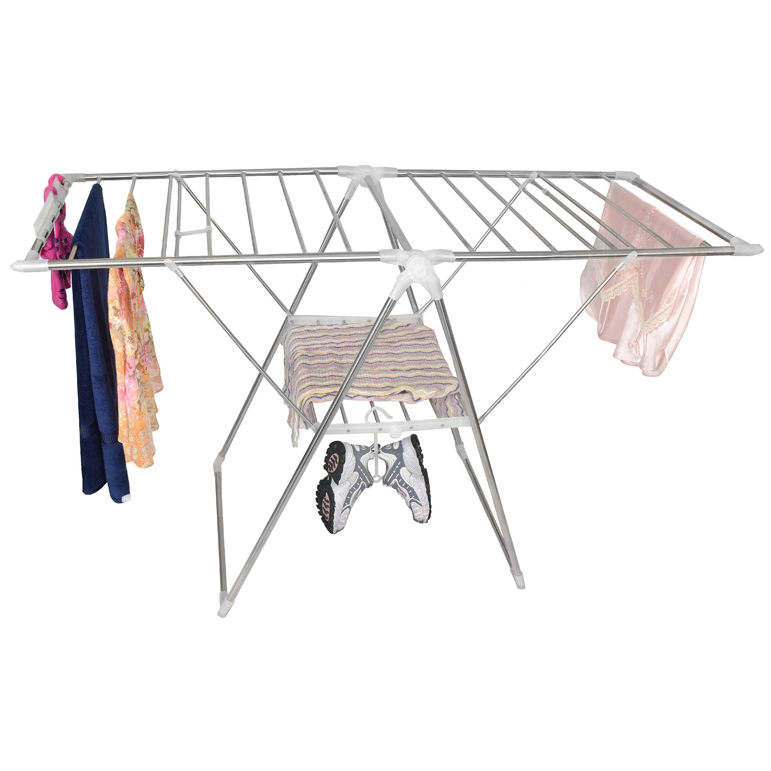 Smart Design Heavy Duty Clothes Drying Rack w/Adjustable Wings & Foldable Design - w/ 66 Feet of Drying Space - Stainless Steel Metal - Drying Clothes, Garments, Towels (61 x 39-57 Inch) [Silver]