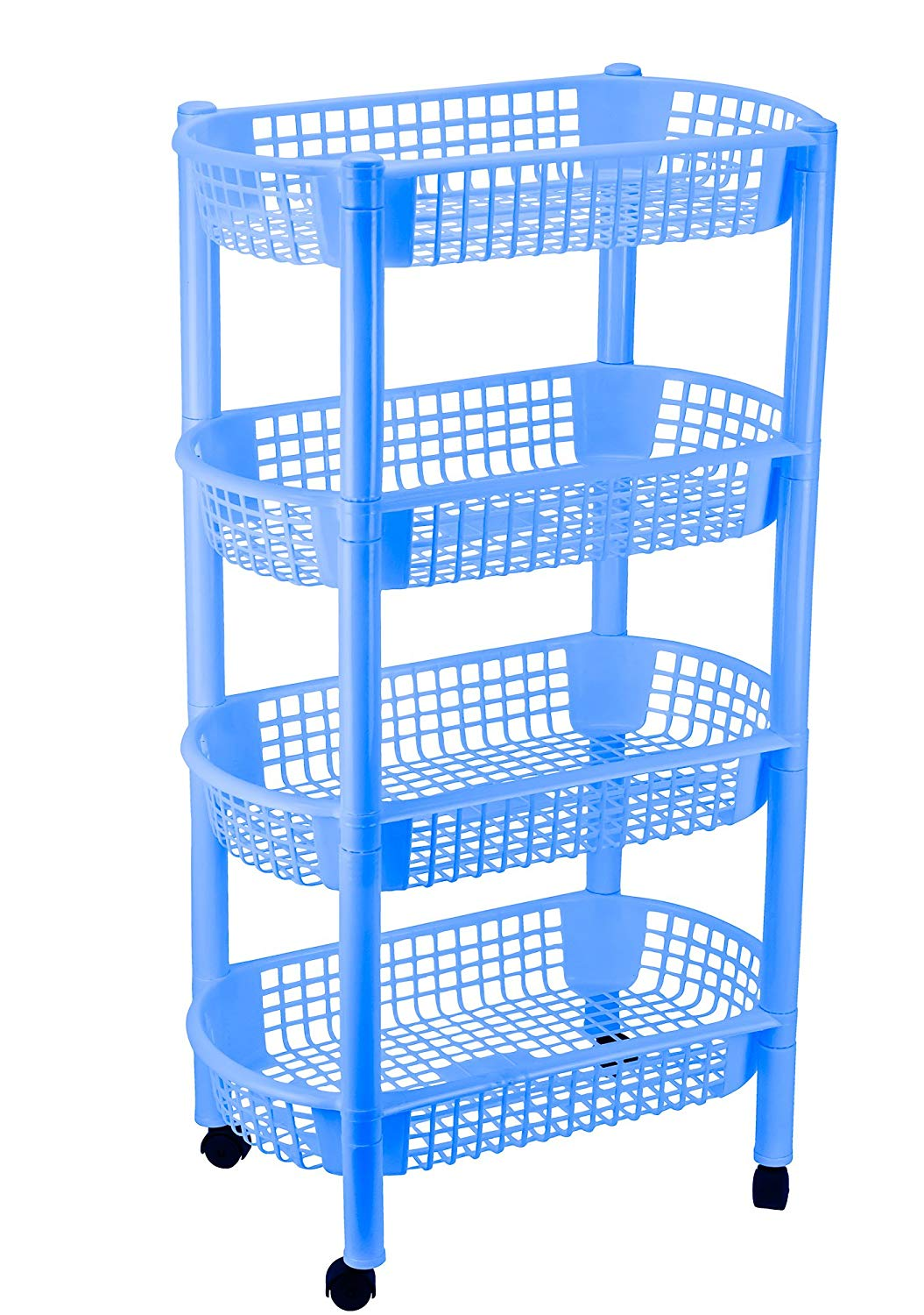 DecorRack Kitchen Storage Rack, 4-Tier Wheeled Plastic Wicker Mesh Basket Shelving Trolley, Rolling Kitchen Storage Cart with Shelves on Wheels for Vegetable and Fruit Storage, Blue Color