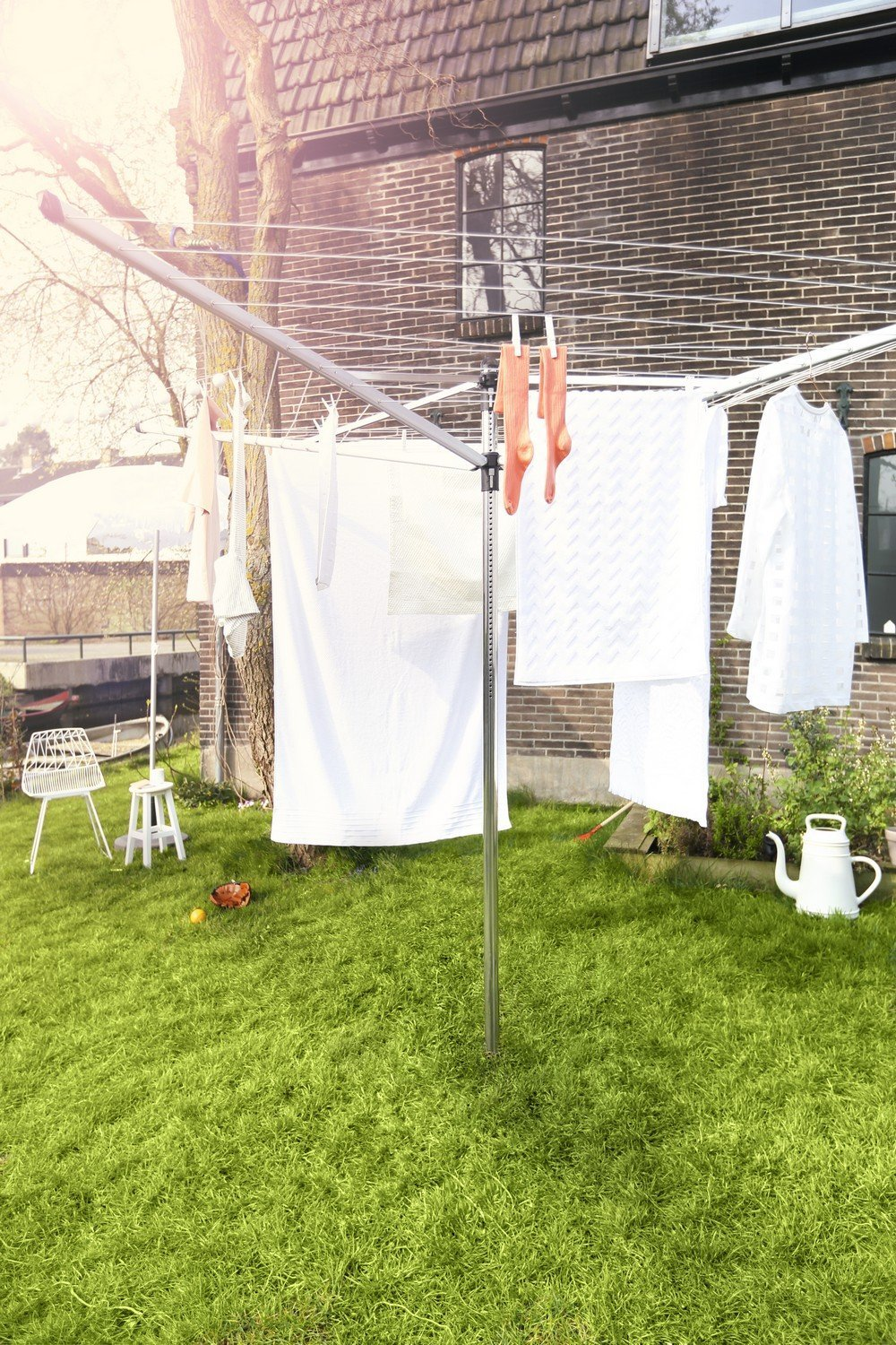 Brabantia Lift-o-Matic Large Rotary Airer Clothesline with Metal Soil Spear 197 Feet Silver