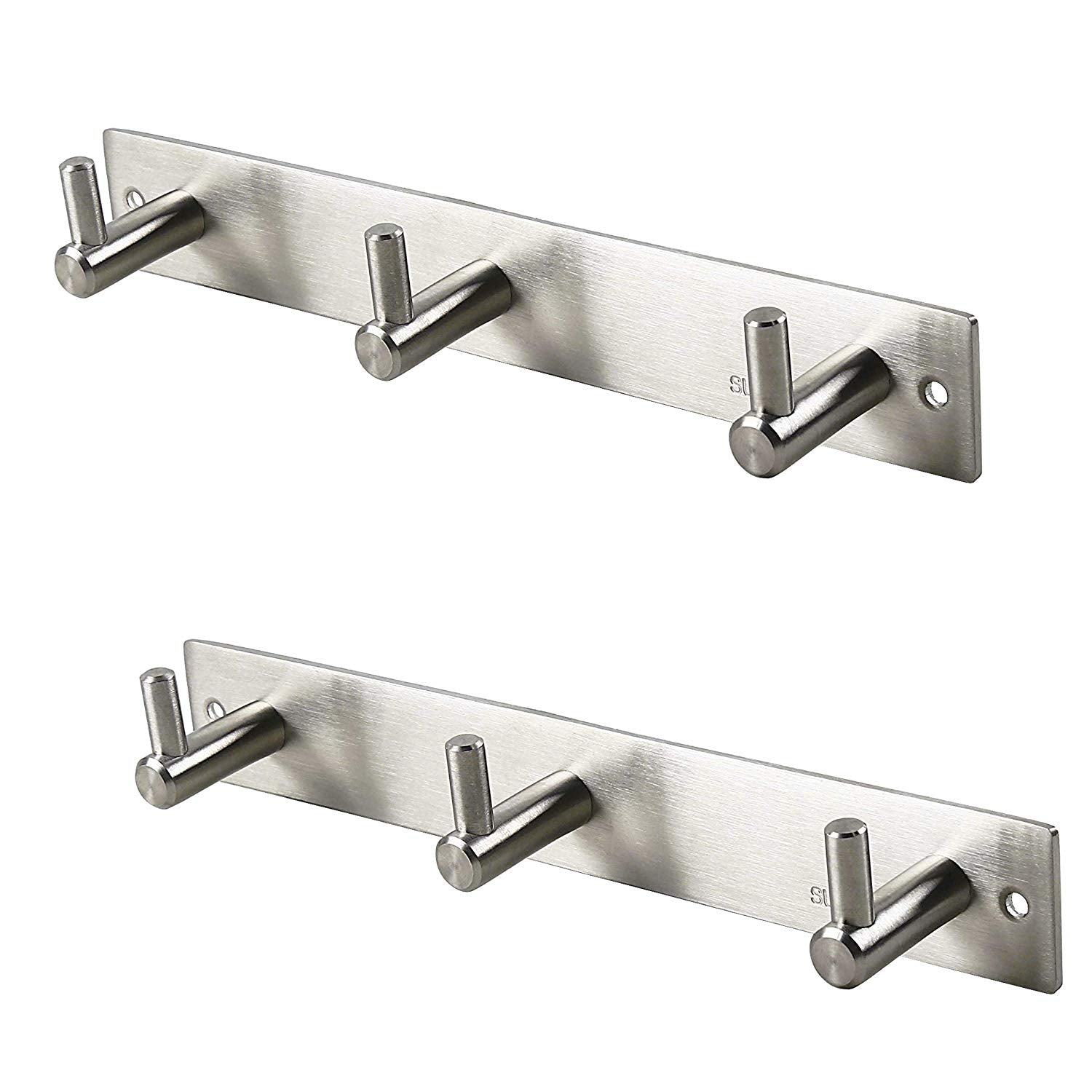 Set of 2, WEBI Heavy Duty SUS 304 Coat Bath Towel Hanger Rail Bar, 3 Hooks, Brushed Finish, for Bedroom, Bathroom, Foyers, Hallways, Entryway, for Great Home, Office Storage & Organization, L-YZ03