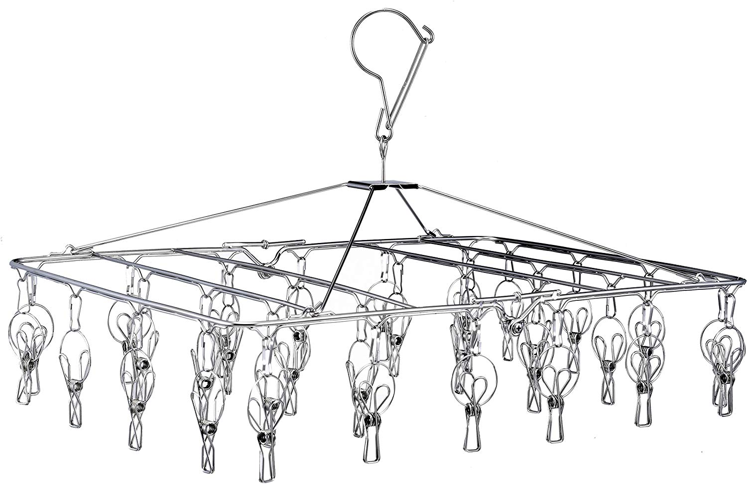 Laundry Clothesline Hanging Rack for Drying Clothing Set of 18 Stainless Steel Clothespins Oval PCKT