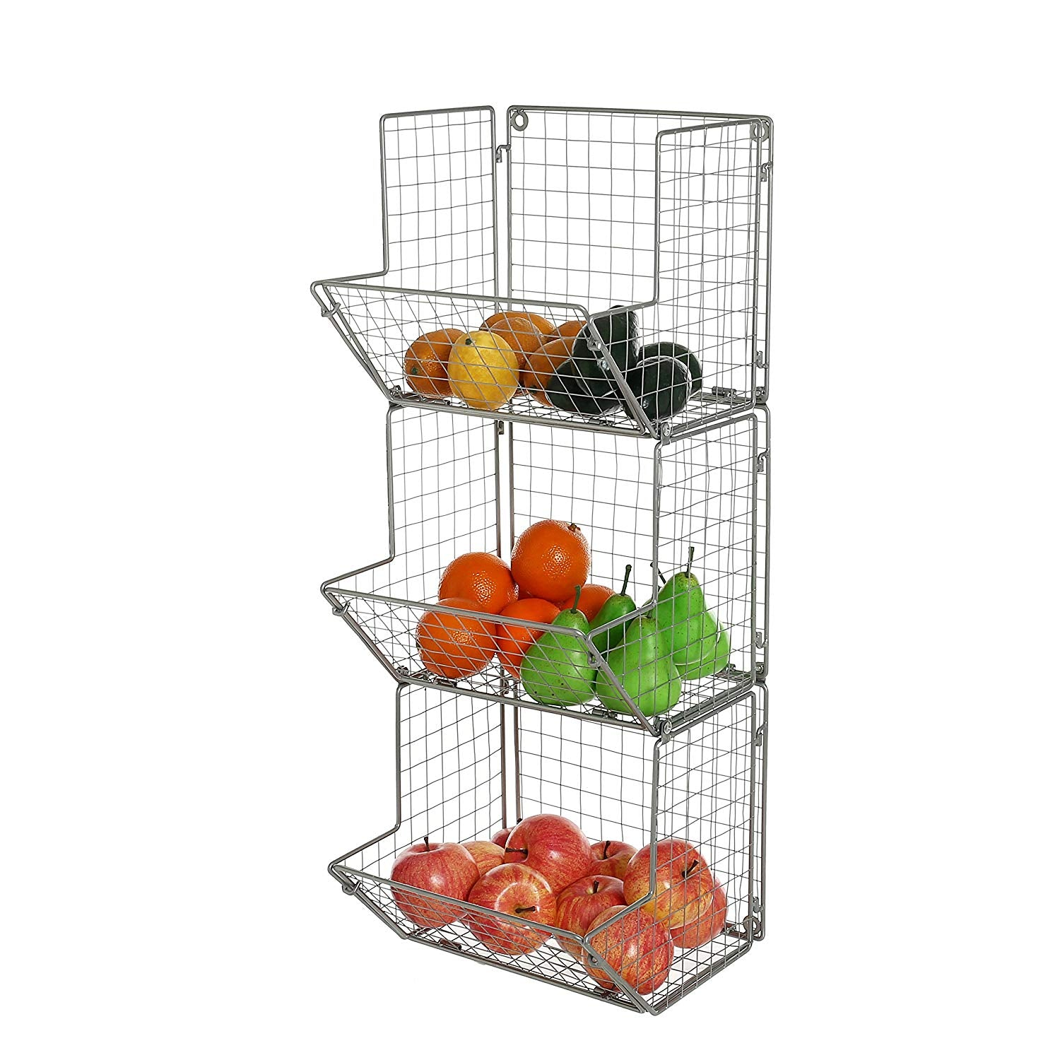MyGift 3-Tier Gray Metal Wire Wall Mounted Kitchen Produce Fruits Bin Rack, Bathroom Towel Storage Baskets