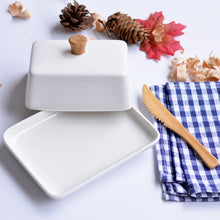 Load image into Gallery viewer, Loft White Ceramic rectangular butter dish tableware - commoditeas