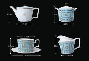 Michelle Afternoon Teapot Sugar Milk Pot Cup And Saucer - commoditeas