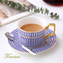 Load image into Gallery viewer, Luxury Bone China Coffee Cup Saucer Spoon Set 200ml Nordic Tea Cup Porcelain Tea Set Advanced Ceramic Teacup Cafe Espresso Cup - commoditeas