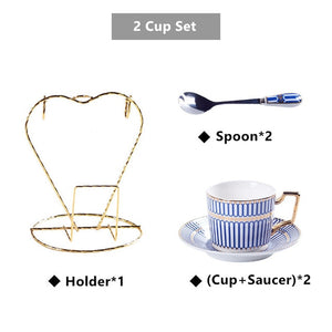 Luxury Bone China Coffee Cup Saucer Spoon Set 200ml Nordic Tea Cup Porcelain Tea Set Advanced Ceramic Teacup Cafe Espresso Cup - commoditeas