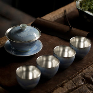 Migoto Silver Plated Ceramic Tea Set - commoditeas