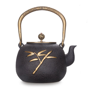 Bamboo Double Copper Cast Iron Teapot - commoditeas