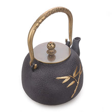 Load image into Gallery viewer, Bamboo Double Copper Cast Iron Teapot - commoditeas