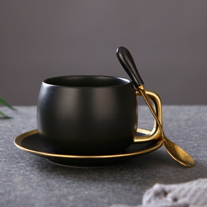 Demetrius Ceramic Gold Black Coffee Cup Set - commoditeas