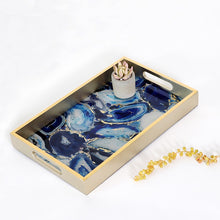 Load image into Gallery viewer, Water Mark Blue Agate Serving Tray - commoditeas