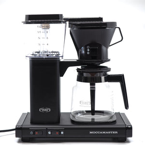Black Technivorm Moccamaster coffee maker with glass carafe