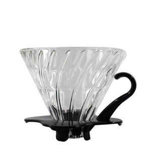 Hario v60 glass dripper with black handle