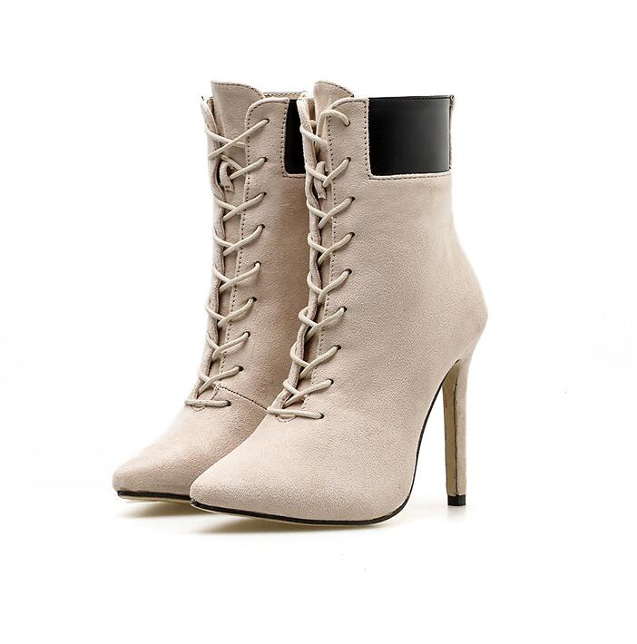 High Heels Pointed Toe Cross Tied Princess Boot