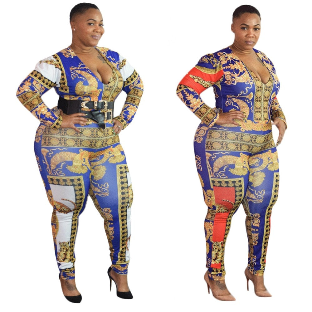 Colorful Printed Deep V Neck Long Sleeve Bodycon Romper Jumpsuit