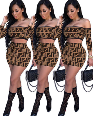 Sexy Print Off The Shoulder Half Sleeve Bodycon Two Piece Skirt Set