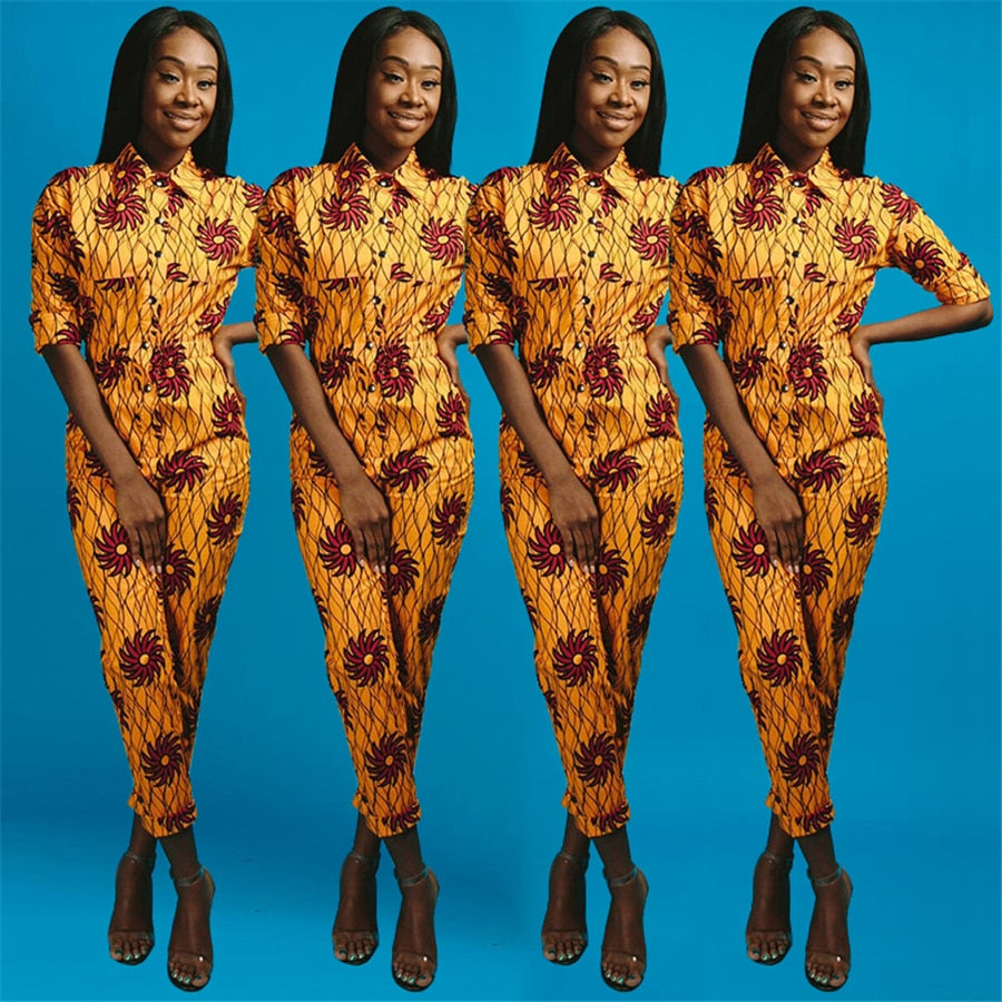 African Dashiki Printed Long-sleeved Elastic High Waist Jumpsuit