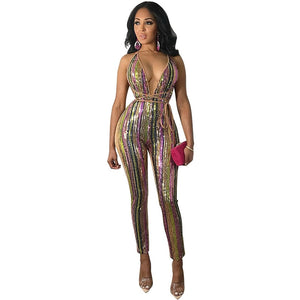 Colorful Stripe Sequins Bandage Sexy Deep V Neck Spaghetti Straps Romper Jumpsuit