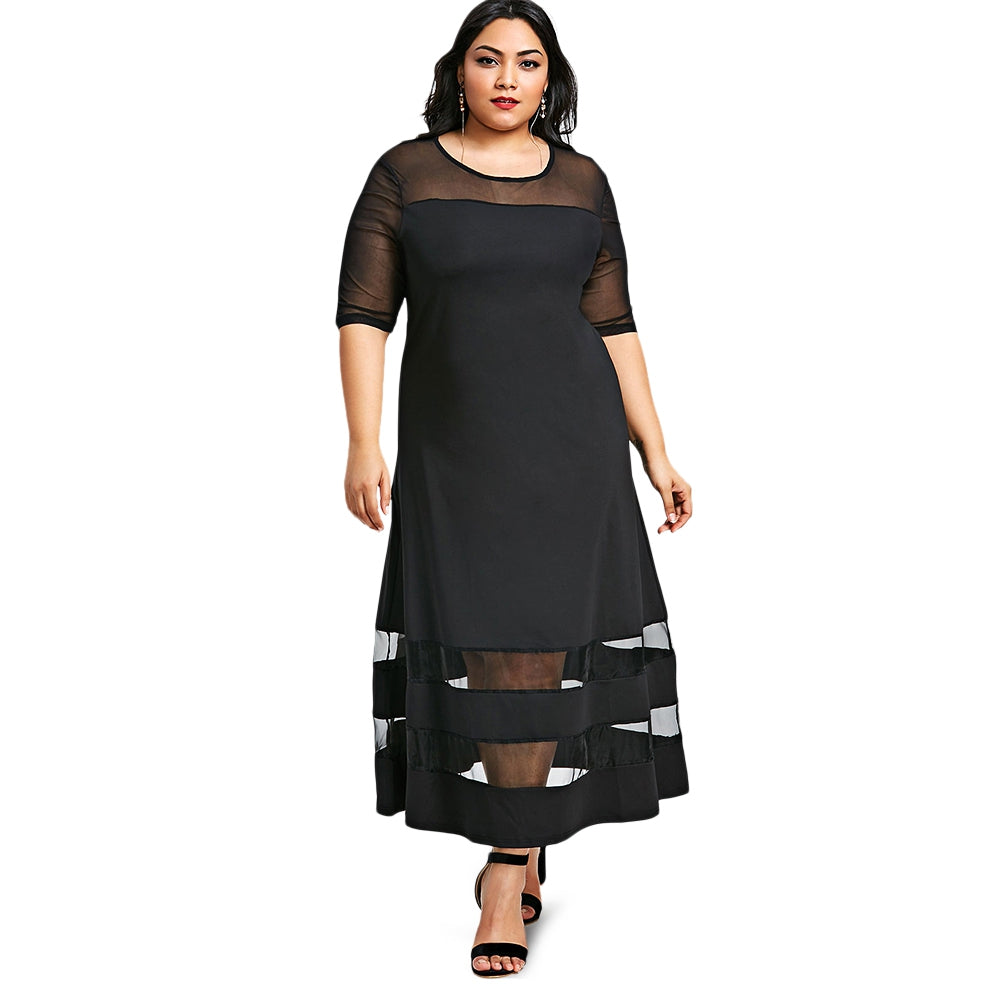 Mesh Panel Half Sleeve Maxi Dress