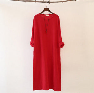 Loose Long Sleeve Cotton Linen Long Dress
