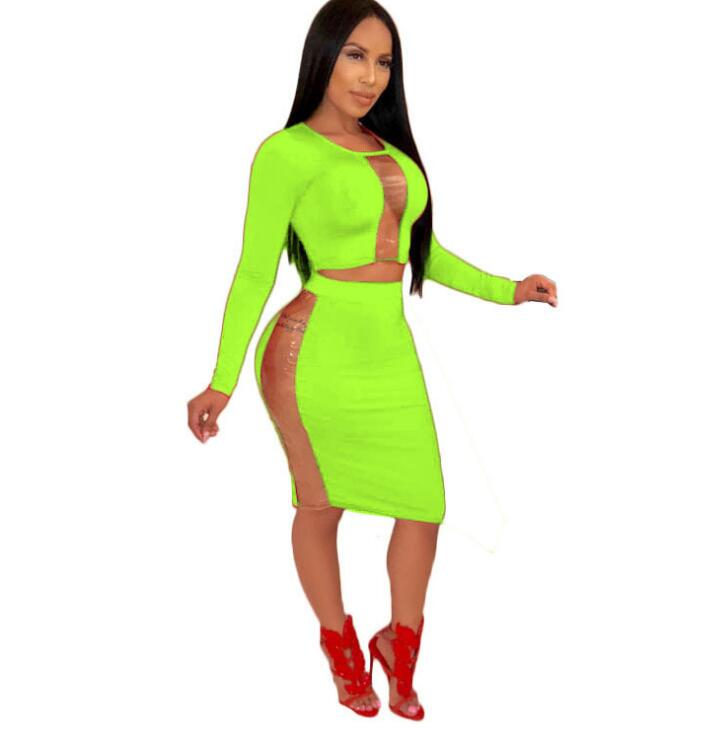 Transparent PVC Patchwork Sexy Two Piece Long Sleeve High Waist Midi Skirt Set