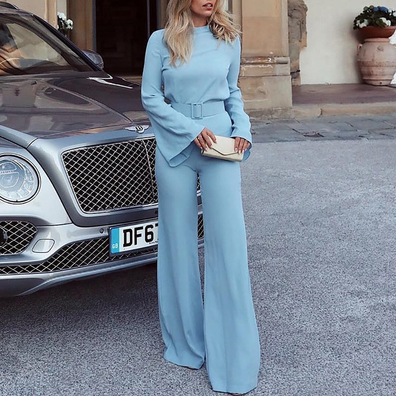 Elegant High Neck Bell Sleeve Wide Leg Jumpsuit Romper With Belt