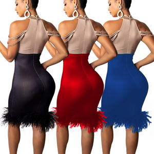 Bandage Elegant Off Shoulder Sexy Feather Bodycon Bead Celebrity Dress