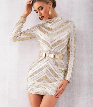 Celebrity Runway Sequined Elegant Long Sleeve Sexy Mini Club Dress