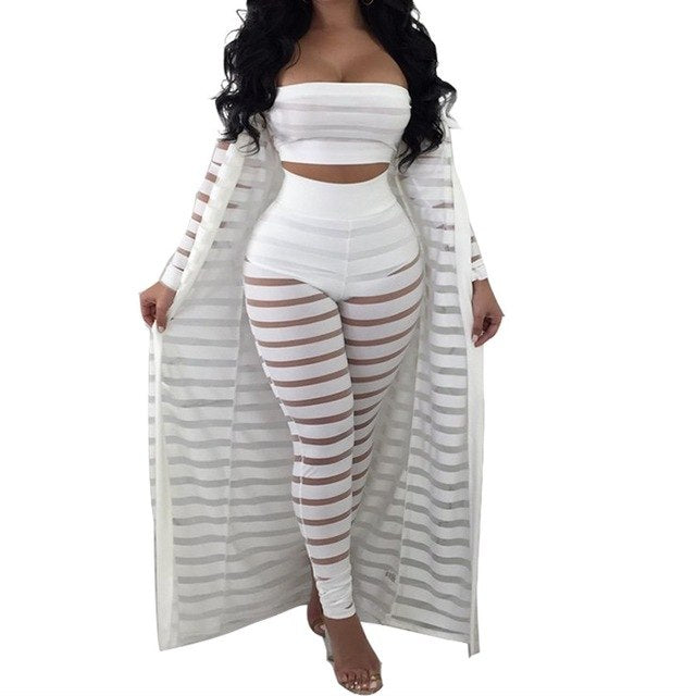 Hollow Out Stripe Sexy Three Pieces Jumpsuit
