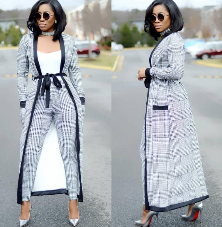 Striped Wide-Legged Pants with Long Coat Three Piece Suit