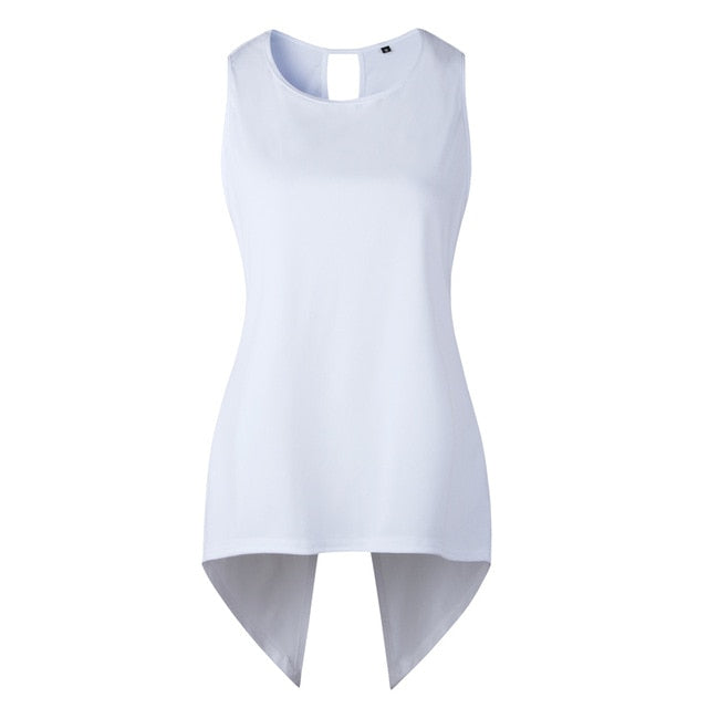 Cross Irregular Sleeveless Backless Blouse
