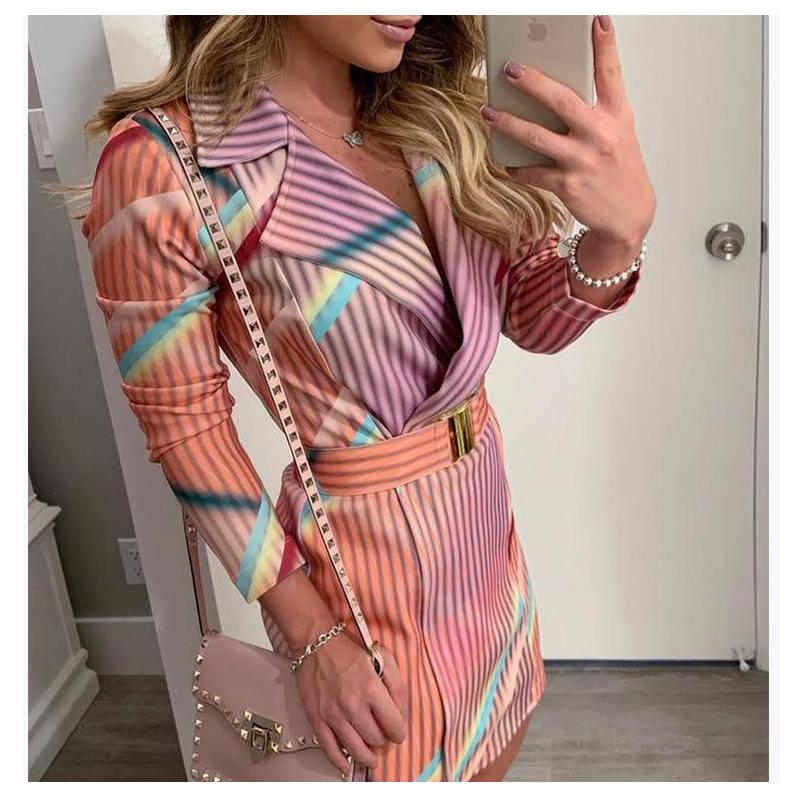 Elegant Striped Women V Neck Blazer Office Dress