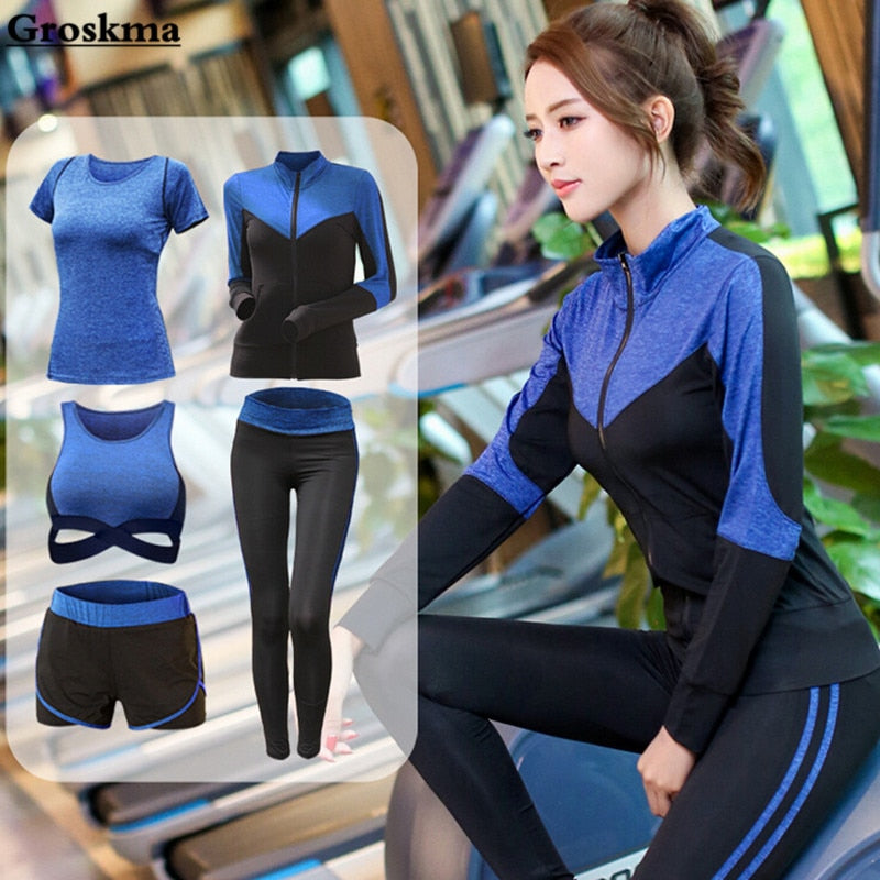 3-5 Pcs Sports Running Fitness Quick Dry Yoga Set