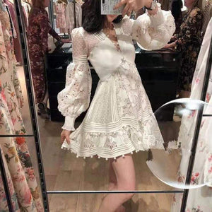 Women Hollow Out Lantern Sleeve V-neck White dress