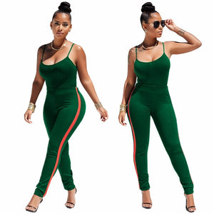 Two-piece Tracksuit Sexy Halter Top Pants Set