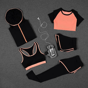 Women Yoga Running Fitness 5 PCs Workout Set