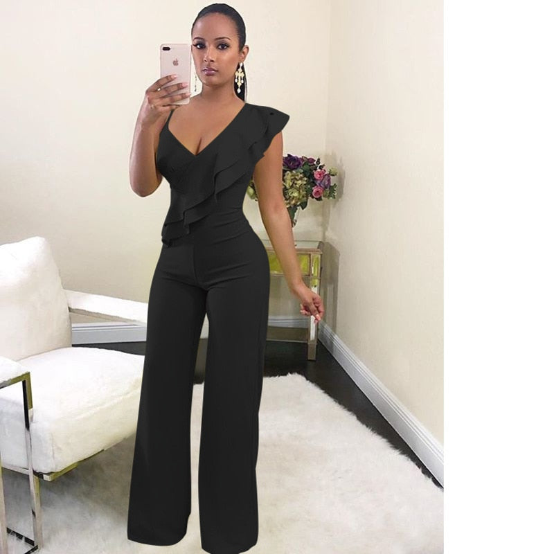 Sexy One Shoulder Ruffles V-Neck Long Wide Leg Jumpsuit