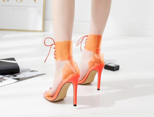 Jelly Lace-Up  Open Toed High Heels Sexy  Transparent Sandals