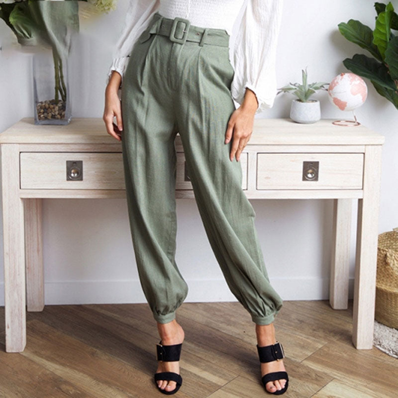 High Waist New Matching Belt Loose Bloom Pants