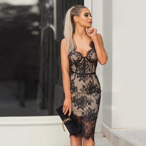 New Sexy V neck Lace Off Shoulder Black Backless Dress