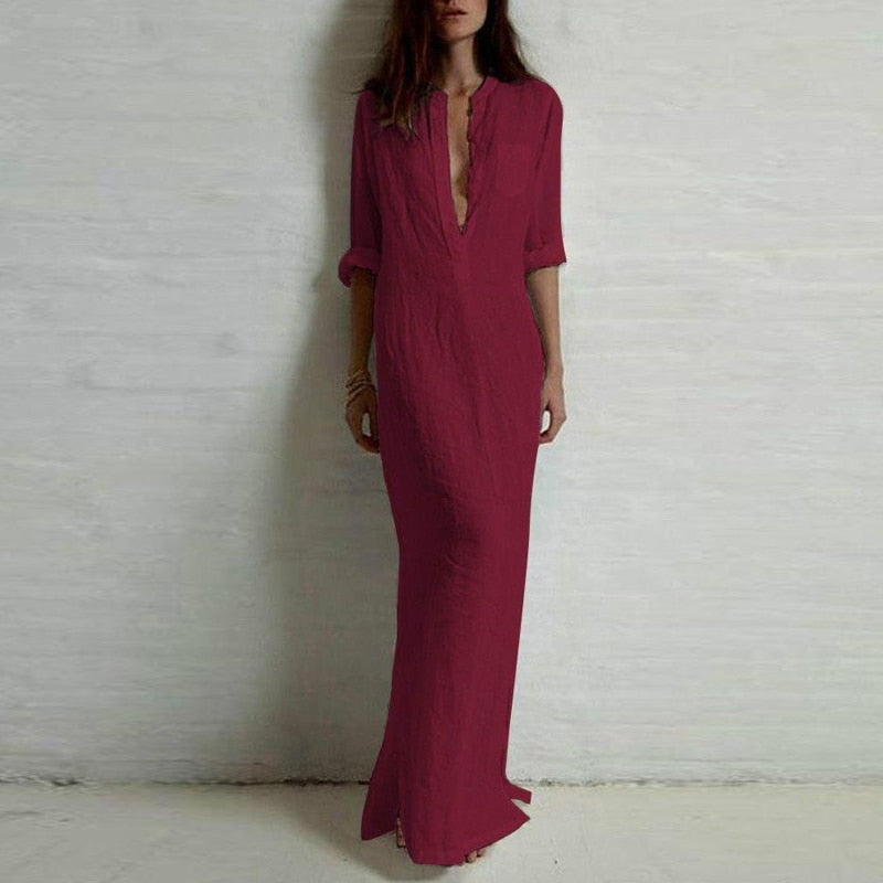 Sexy Casual Long Sleeve Deep V Neck Split Solid Long Maxi Dress