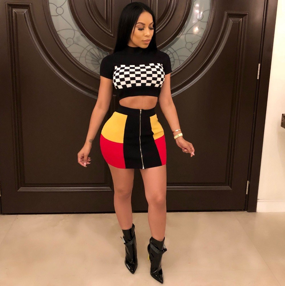 Sexy Two Piece Summer T Shirt Crop Top And Color Block Spliced Front Zip Mini Skirts