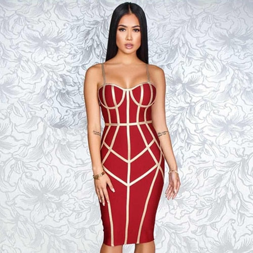 Summer Bodycon Bandage Sexy Spaghetti Strap Sleeveless Club Hot Celebrity  Dress