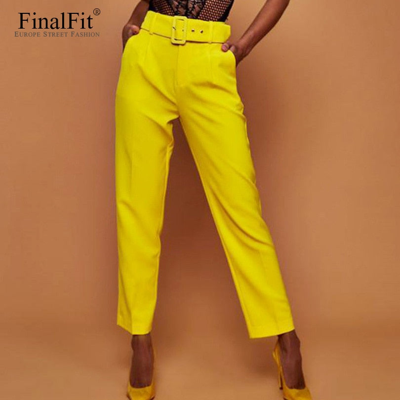 Casual Pants High Waist Belted Straight Leg Pants