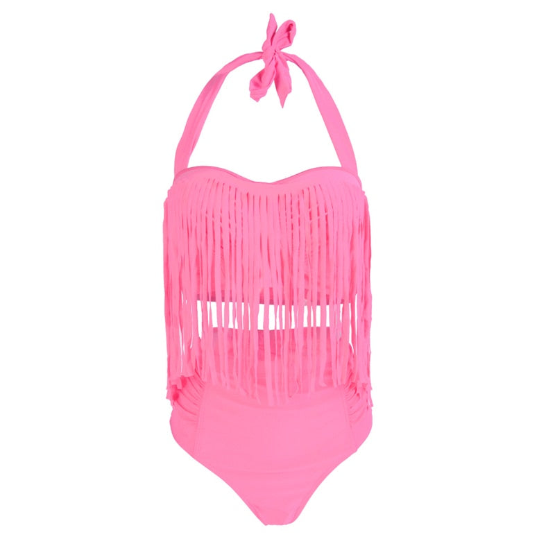 Tassel Sexy Halter Top Push Up Bikini Swimsuit