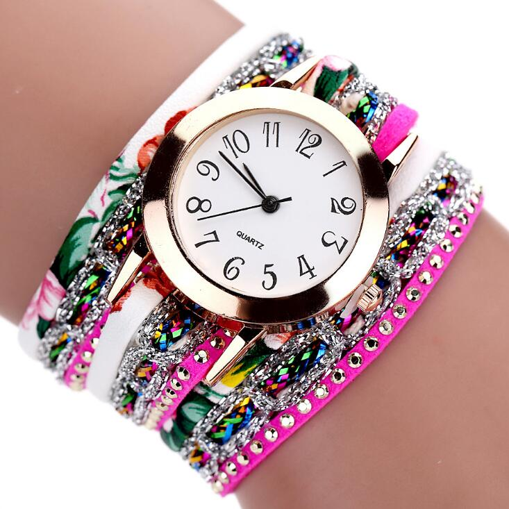 Luxury  Flower Quartz Diamond Leather Bracelet Gemstone Wristwatch