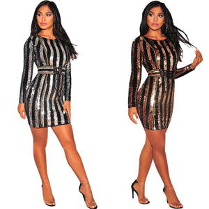 Mini Sequin Striped Long Sleeve Bodycon Dress