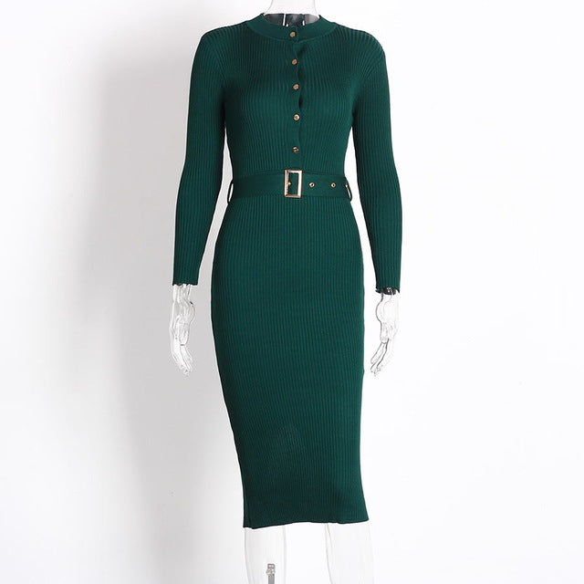Button Long Sleeve Knitted Pencil Dress